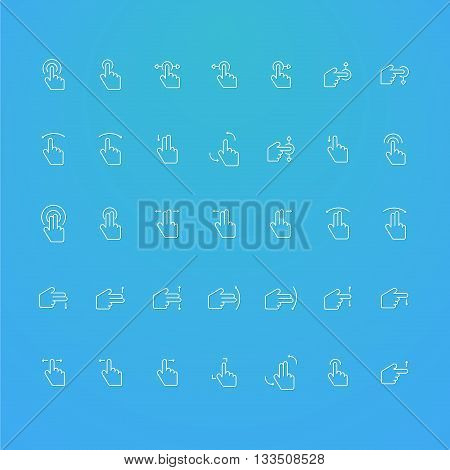 touch screen line collection icons set of 35