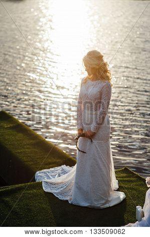 Beautiful Young Bride In Luxury Wedding Dress