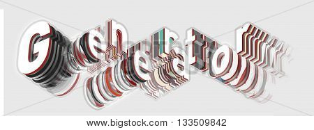 Generator isometric sign. Generator is falling into pieces. Artistic inscription in modern style. Technology generator typography sign. Letter plates in layers viewed from below.