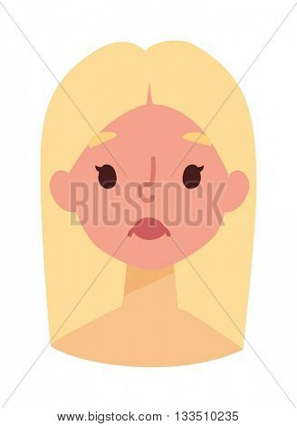 Sunburn girl face vector illustration.