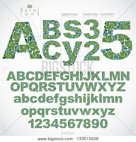 Floral font and numbers hand-drawn vector alphabet letters decorated with botanical pattern. Ornamental typescript and numeration from 0 to 9 vintage design.