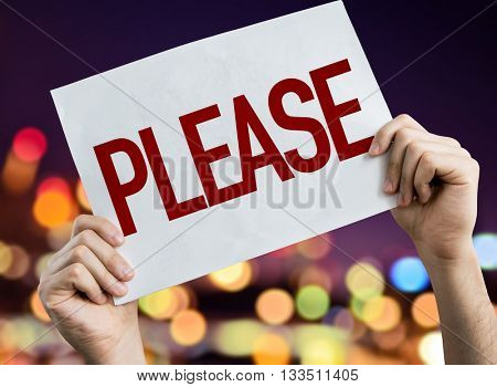 Please placard with night lights on background