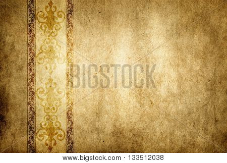 Old dirty paper background with old-fashioned border. Natural old paper texture and vintage ornamental border for the design.