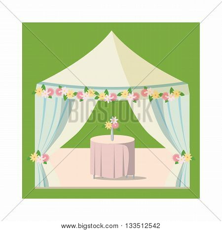 Wedding marquee icon in cartoon style on a white background