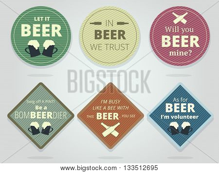 Set Of Colored Round and Square Ready Beer Coasters and Mats With Slogans And Phrases Motivation Bierdeckels Design