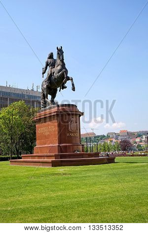 Budapest, Hungary - May 21: Statue of Francis II Rakoczi in parliament square in Budapest on May 21, 2016 in Hungary