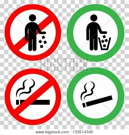 Prohibitory signs. Do not litter, do not smoke.
