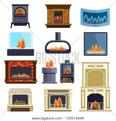 Set of vector fireplace icons.