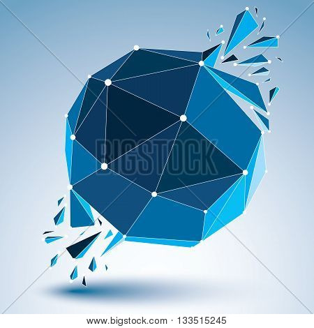 3d vector low poly object with blue connected lines and dots geometric wireframe shape with refractions. Asymmetric perspective shattered form. Luminescent effect communication technology.