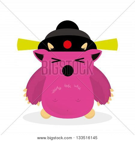 Japanese, illustrated monster, vector illustration, character, Yety, bogy