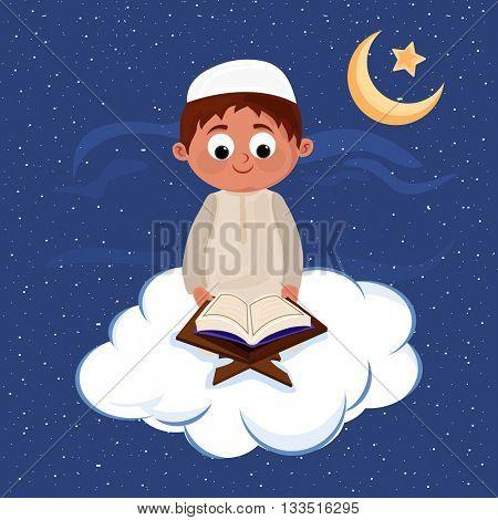Cute Muslim Boy reading Islamic Holy Book