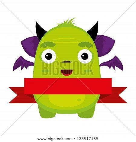 illustrated monster, vector illustration, character, Yety, bugaboo, red ribbon, place for text,