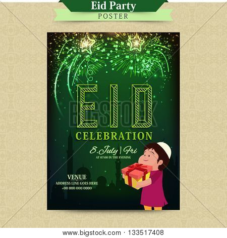 Elegant glowing Invitation Card design with cute Islamic Kid holding gift for Muslim Community Festival, Eid Mubarak Celebration.