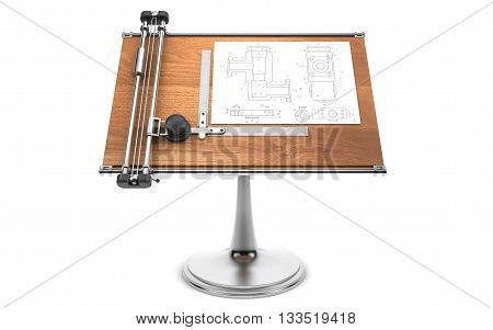 Drawing table with project blueprint isolated on white. 3d rendering