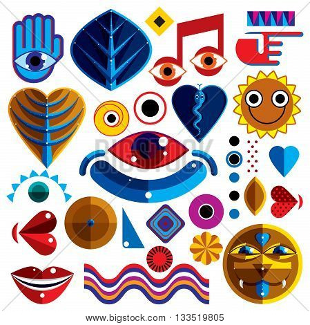 Set of vector abstract art symbols different modern style graphic elements collection like odd creatures and monsters heart shapes musical notes and hand gestures.