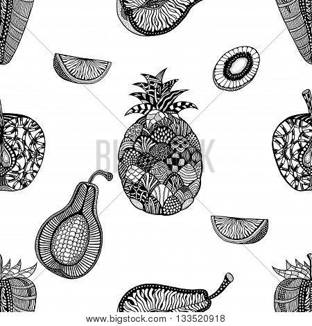 Seamless pattern backgroud of fruit. Plant. Exotic fruit. Line art. Monochrome Hand drawn. Doodle vector illustration.