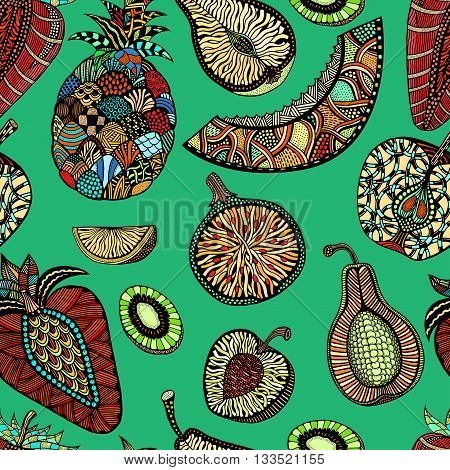 Seamless pattern backgroud of fruit. Plant. Exotic fruit. Line art. Colored Hand drawn. Doodle vector illustration.