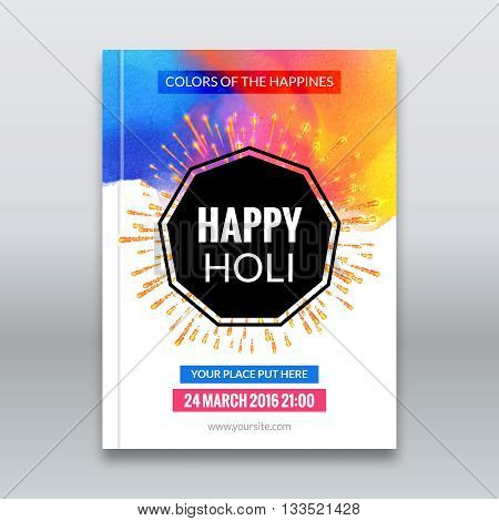 Holi festival poster. Template for flyer, brochure or invitation. Vector illustration. Design for Indian Festival of Colours, Happy Holi celebration
