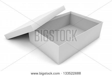 white empty opened cardboard box isolated on white