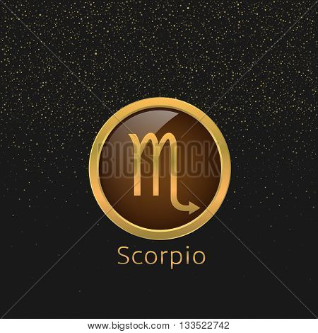 Scorpio Zodiac sign. Scorpio abstract symbol. Scorpio golden icon. Scorpion astrology symbol