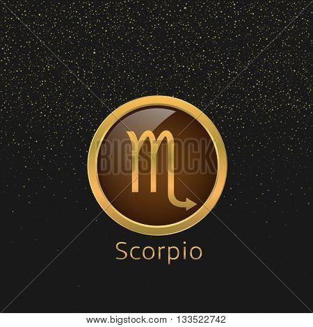 Scorpio Zodiac sign. Scorpio abstract symbol. Scorpio golden icon. Scorpion astrology symbol poster