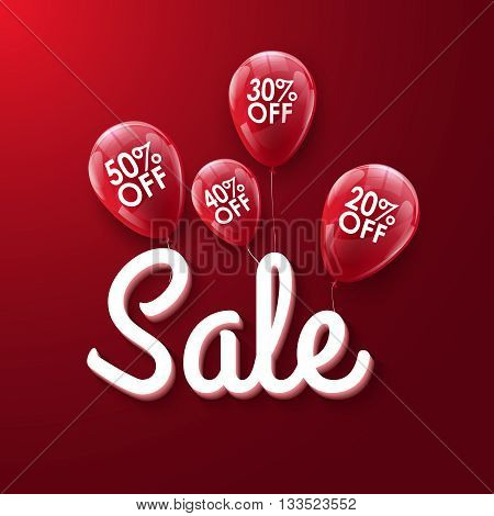 Baloons Discount. SALE concept for shop market store advertisement commerce. Typography Market discount, blue balloon, sale balloons. Vector business concept.