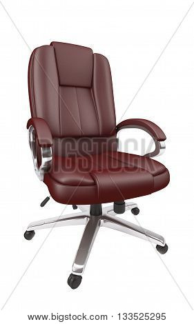 Brown leather office chair on white background