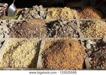 Abstract photo of different natural Saudi medicines ideal for use as a background
