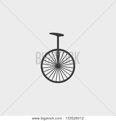 Unicycle icon in a flat design in black color. Vector illustration eps10
