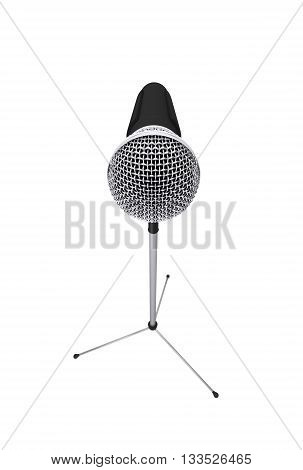 Microphone stand isolated with clipping path. 3d rendering