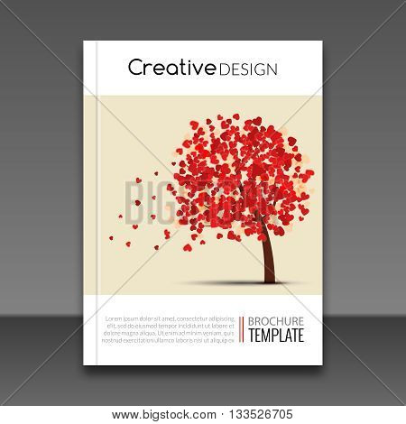 Cover report flyer colorful tree with hearts prospectus design background, cover flyer magazine, brochure book cover template layout, vector illustration.