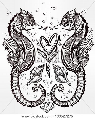 Hand drawn romantic Seahorse with heart and nautical elements. Vector illustration isolated. Marine art for tattoo, poster, scrapbooking, prints or coloring books. Beautifully detailed, ornate.