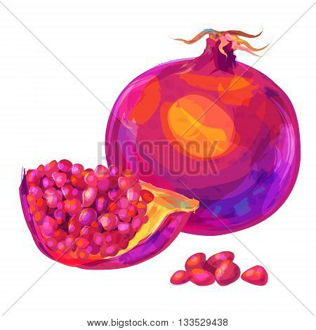 Vector hand drawn painting fruit. Garnet on white background. This is illustration ideal for a mascot and T-shirt graphic. Stock illustration