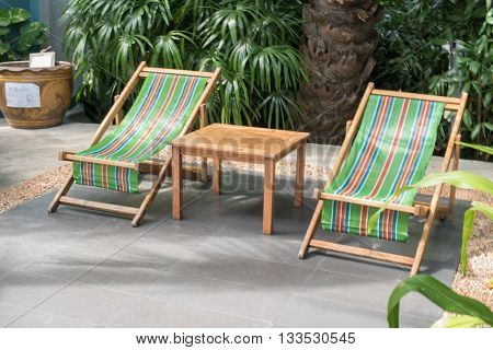 view of the deckchairs in the garden