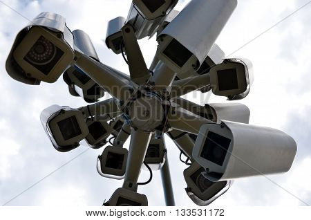 Big brother is watching you. Security and hidden cameras everywhere. A 'nest' of surveillance cameras