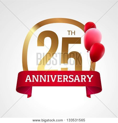 Celebrating 25th years anniversary golden label with ribbon and balloons, vector template.