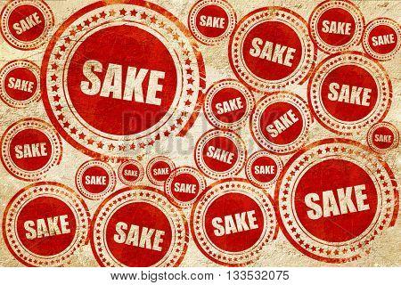 sake, red stamp on a grunge paper texture