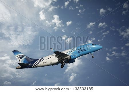 Larnaca Cyprus - May 22 2016: Airbus A320 airline Egypt Air in the skies over the island of Cyprus at the airport in Larnaca Cyprus