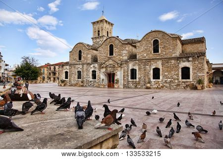 Birds flying outside of the Ancient 9th century Greek Orthodox Church of Ayios Lazarus in Larnaca southern Cyprus. Known as Church of Saint Lazarus.