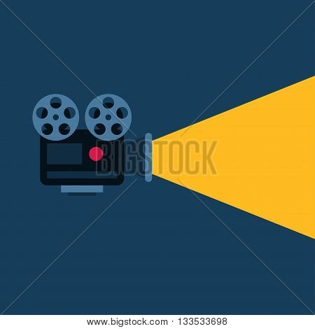 Movie Projector with Ray of Light. Flat Style Vector Illustration