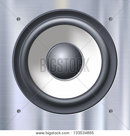 Background with sound speakers dynamics. Background of polished metal with flare, patches of light. Audio speaker on a shiny metal background with bolts. Vector Illustration.