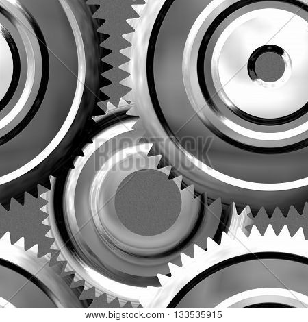 Silver sprockets background - abstract rendered illustration