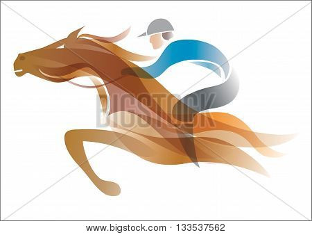 Colorful stylized illustration of Jockey on the running horse. Vector available.
