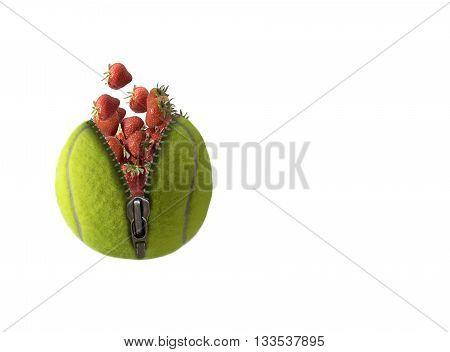 Tennis ball full of strawberries