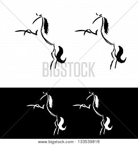 Freehand horse logo. More and less detailed versions. Gesture horse painting. Artistic animal illustration isolated on white. Rearing stylized vector ink horse