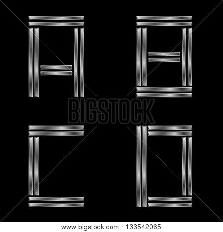 ABCD letters. Silver metal alphabet, metallic font