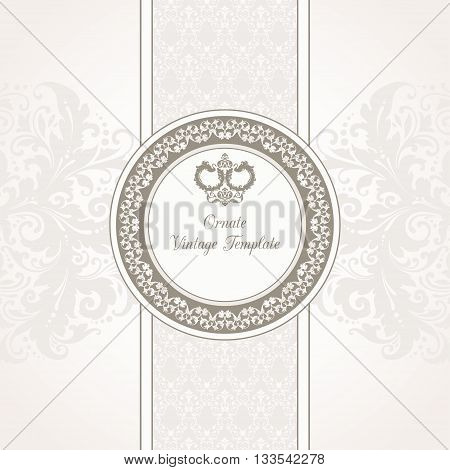 Vector tempalte with ornamental frame, couple decor swans birds and pattern background