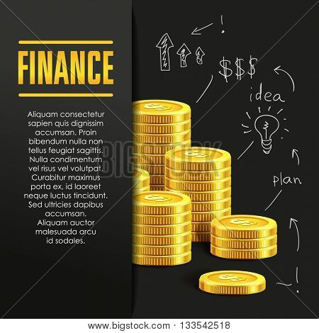 Finance poster or banner design template with golden coins and copy space for text. Vector illustration. Money making. Bank deposit. Financials. Gold and black. Business finans vector background.