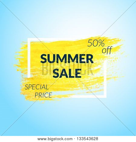 Summer Sale banner. Yellow Paint brush background. Vector illustration.