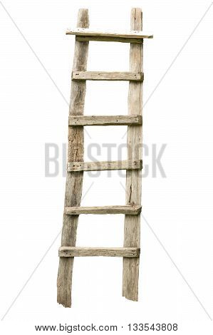 Rough weathered wooden ladder isolated on white